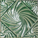 Bristol Studios - Nouveau - G2351 Lyon Vert Relief Deco - 6X6 Hand Crafted Decorative Tile