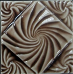 Bristol Studios - Nouveau - G2452 Lyon Chestnut Relief Deco - 6X6 Hand Crafted Decorative Tile