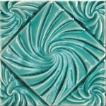 Bristol Studios - Nouveau - G2797 Lyon Teal Relief Deco - 6X6 Hand Crafted Decorative Tile
