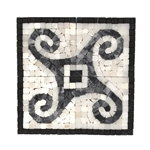 "Black White Gray Marble Natural Stone Mosaic Deco Insert - 8"" X 8"" Mini Scroll Panel Medallion"
