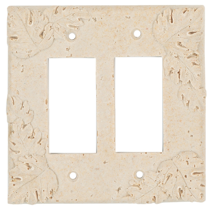 Resin Faux Stone Wall Switch Plate Outlet Cover   Double GFCI Rocker    Leaves   Light Travertine Color