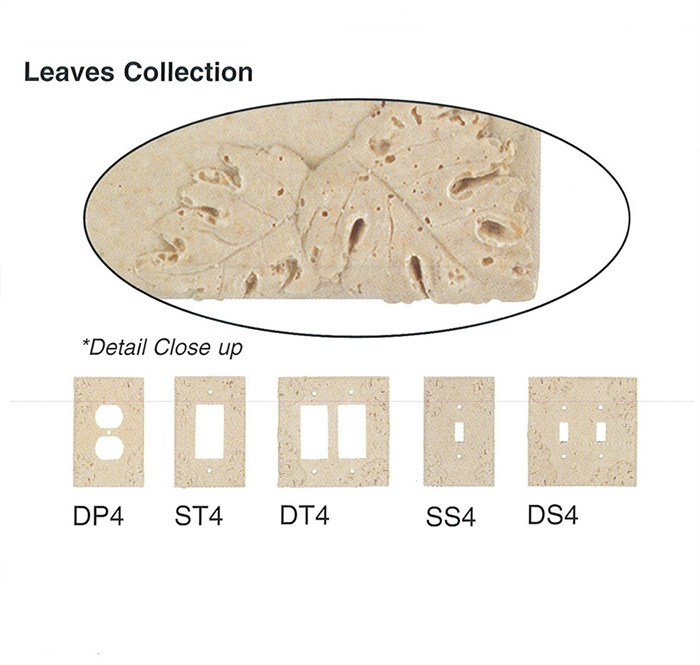Beau Resin Faux Stone Wall Switch Plate Outlet Cover   Single GFCI Rocker    Leaves   Light Travertine Color