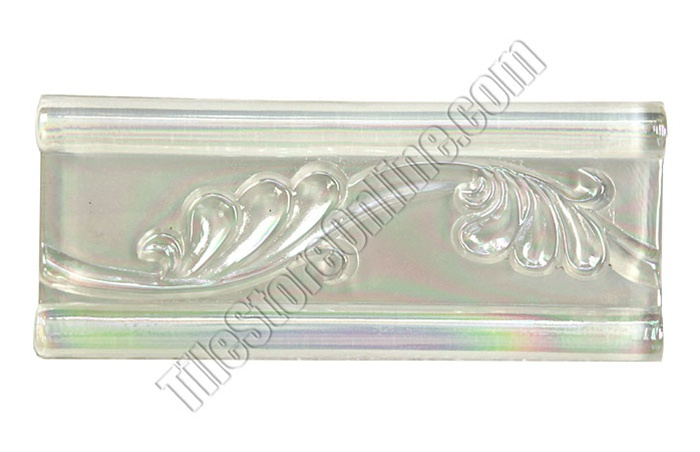 iridescent glass tile liner border 2 12 x 6 glass leaf relief liner deco border 25x6 decorative glass liner border white clear iridescent