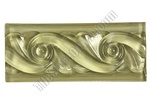 Glass Tile Liner Border - 2 1/2 X 6 Glass Wave Relief Liner Deco Border - 2.5X6 Decorative Glass Liner Border - Olive Green - Glossy
