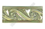 Iridescent Glass Tile Liner Border - 2 1/2 X 6 Glass Wave Relief Liner Deco Border - 2.5X6 Decorative Glass Liner Border - Olive Green - Iridescent