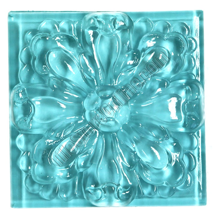 Glass tile relief deco 4 x 4 large glass flower deco for Large glass tile