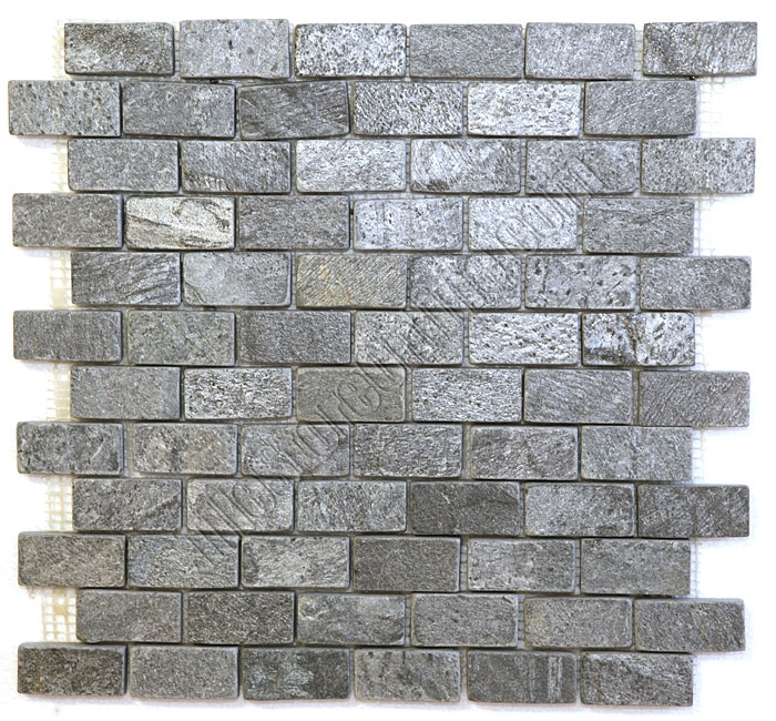Ordinaire Slate Mosaic   1 X 2 Ostrich Gray Quartz Slate Brick Subway Mosaic   Tumbled