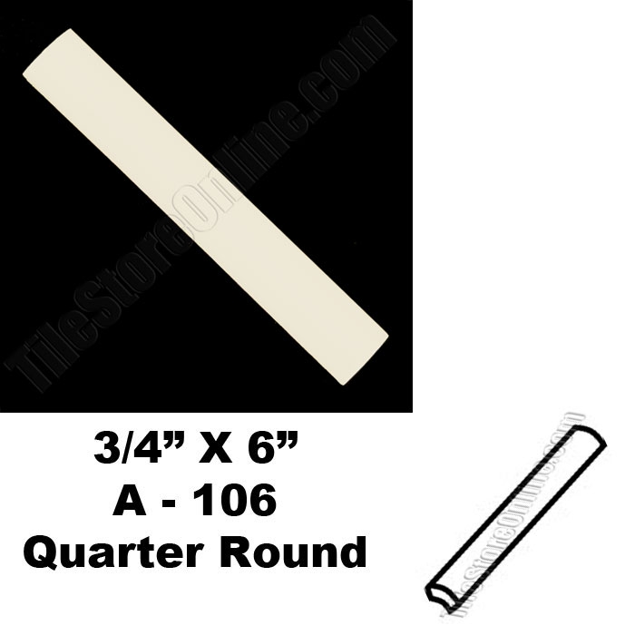 Daltile 2 X 6 Chair Rail Part - 32: Daltile - 0135 Almond - 3/4X6 Quarter Round Bead - A106 Dal Tile Ceramic  Trim Tile