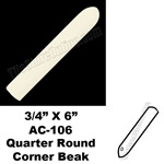 Daltile - 0135 Almond - 3/4X6 Quarter Round Out Corner Beak - AC106 Dal Tile Ceramic Trim Tile