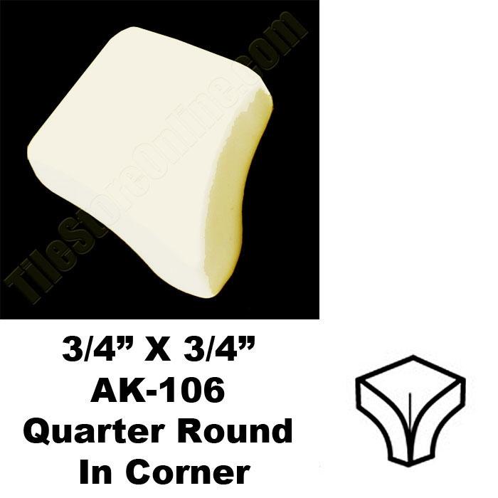 Daltile 0135 Almond 34 X 34 Quarter Round In Corner Ak106