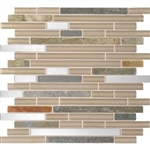 Daltile Endeavors - F158 Meditation - 5/8 X Linear Glass Stone and Metal Mosaic