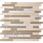 Daltile Endeavors - F159 Spirit - 5/8 X Linear Glass Stone and Metal Mosaic