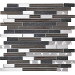 Daltile Endeavors - F162 Zen - 5/8 X Linear Glass Stone and Metal Mosaic