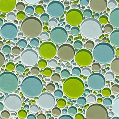 Round Bubbles Glass Tile Mosaic Cm012 Spa Blend Glossy