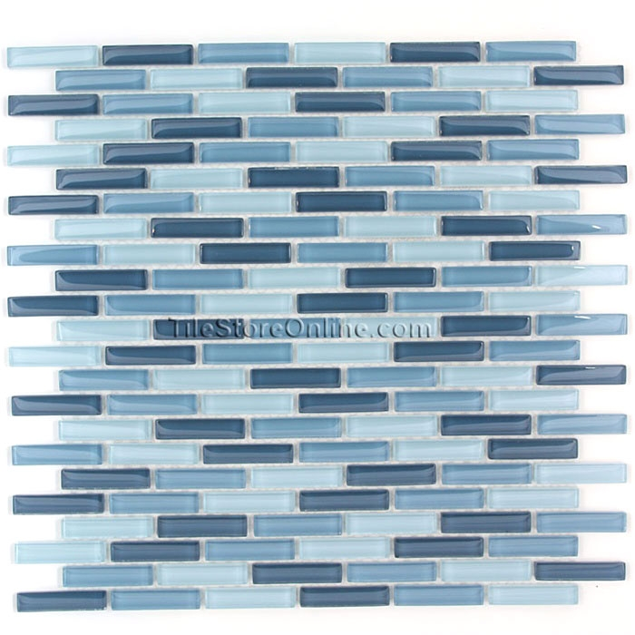 Gl Tile 1 2 X Mini Subway Brick Stick Mosaic Cv056 Blue Blend