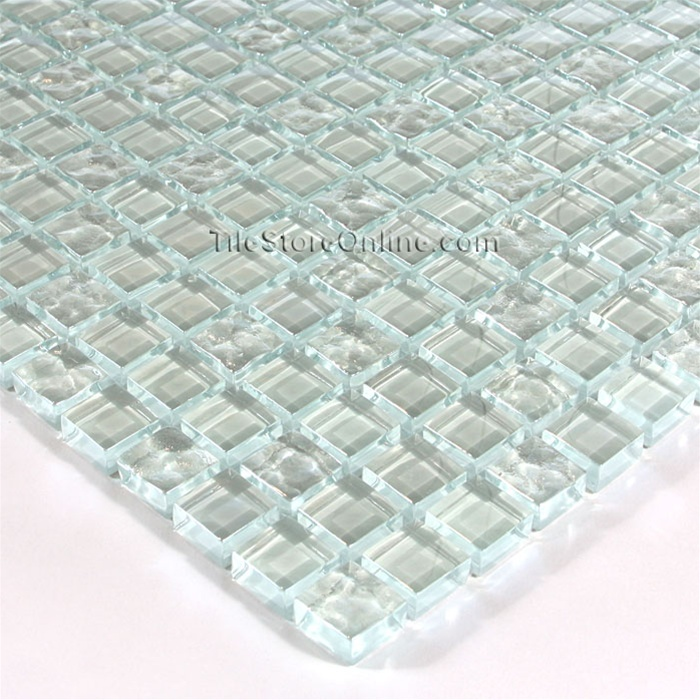 5 8 X Gl Tile Mosaic Dgw001 Clear Rippled Glossy Mix