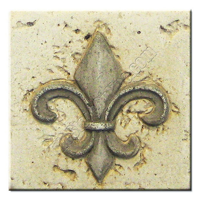 Resin Travertine Faux Stone 4 X 4 Fleur De Lis Deco Insert 4x4 Db