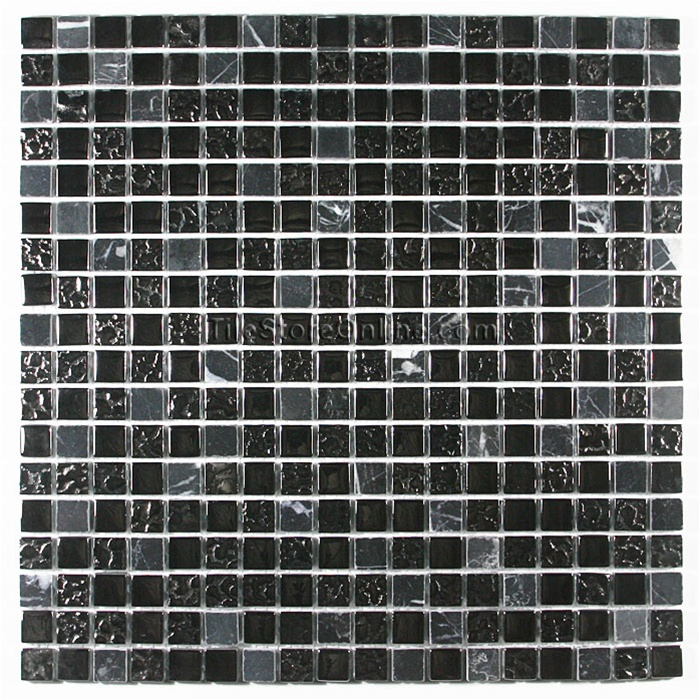 Glass Tile and Marble Mosaic 58 X 58 Glossy Rippled Glass and