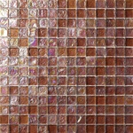 3/4 X 3/4 Glass Tile Mosaic - GC003 Rippled Glass Brown - Iridescent