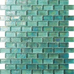 3/4 X 1 3/4 Glass Tile Brick Mosaic - GC004-1 Rippled Glass Aqua - Iridescent