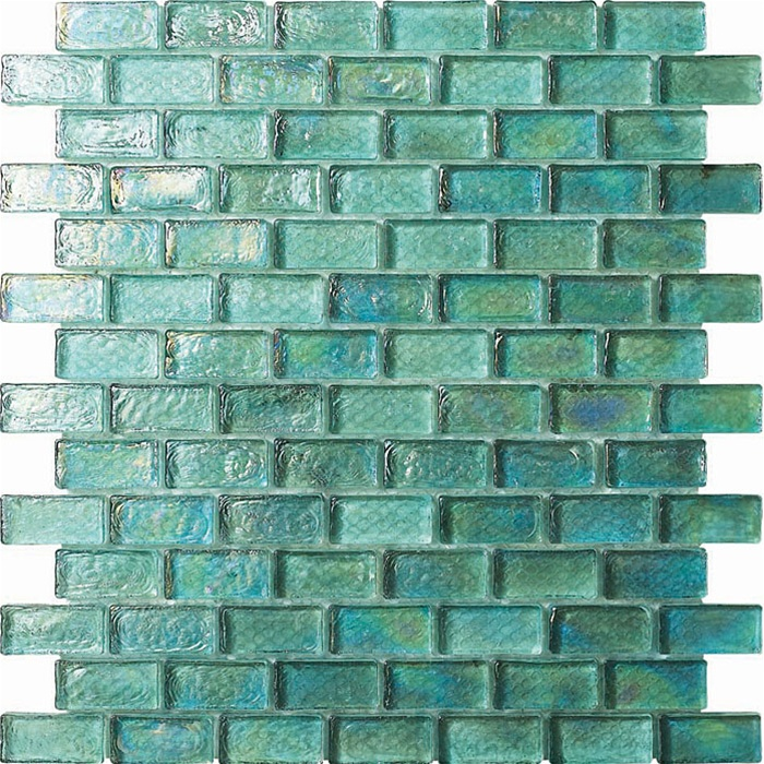 4 X 1 3/4 Glass Tile Brick Mosaic - GC004-1 Rippled Glass Aqua ...