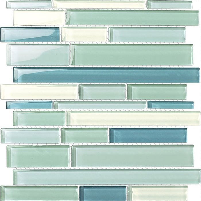 Various Sized Glass Tile Mosaic - GSD826 Blue Blend - Glossy