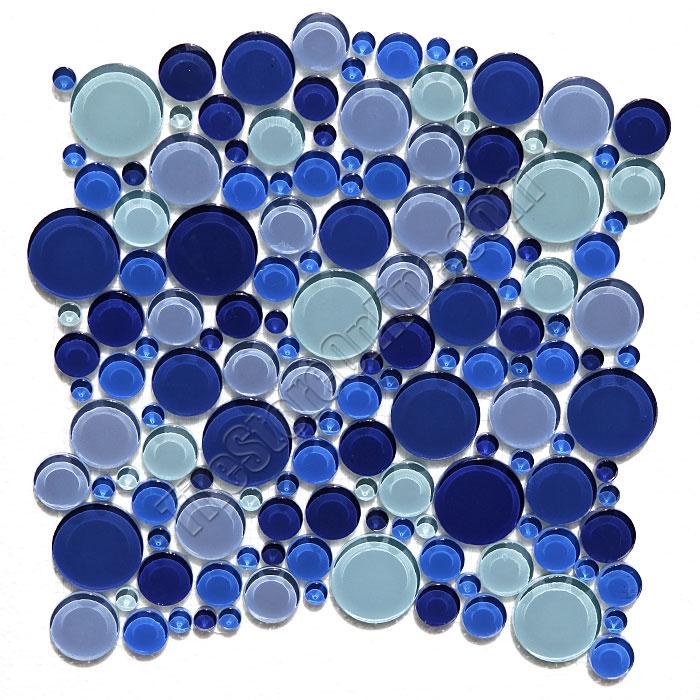 Round Bubbles Gl Tile Mosaic Crystal Glbu17 1200m050 Blue Blend Glossy