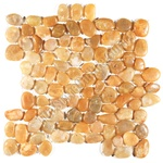Polished River Rock Pebble Stone Mosaic - PT 101 Yellow Stone Interlocking River Rock Pebble Stone Mosaic - Polished