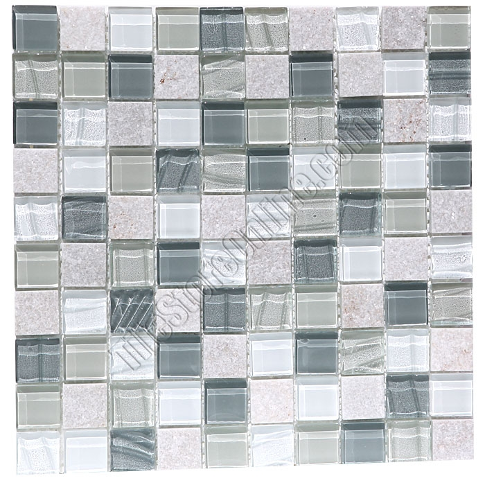 Gl And Slate Quartz Mosaic Tile 1x1 Elume Heather Gray Gloss Embossed Textured Pattern