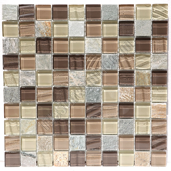 Glass and slate quartz mosaic tile 1x1 elume maple rum for Glass tile texture