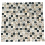 Glass Slate Quartz and Metal Mosaic Tile - 5/8X5/8 Elumery Boardwalk - Gloss Glass, Metal Tile, and Slate Quartz
