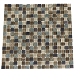 Glass Slate Quartz and Metal Mosaic Tile - 5/8X5/8 Elumery Chesnut - Gloss Glass, Metal Tile, and Slate Quartz