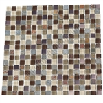 Glass Slate Quartz and Metal Mosaic Tile - 5/8X5/8 Elumery Java Bean - Gloss Glass, Metal Tile, and Slate Quartz