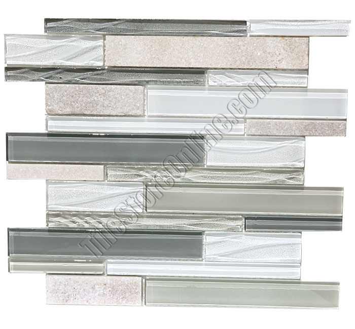 Linear Gl And Slate Quartz Mosaic Tile Elume Heather Gray Gloss Embossed Textured Pattern