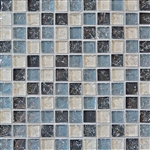 Crackle Glass Tile - 1 X 1 Crackled Glossy Glass Tile Mosaic - Gray Blue Blend
