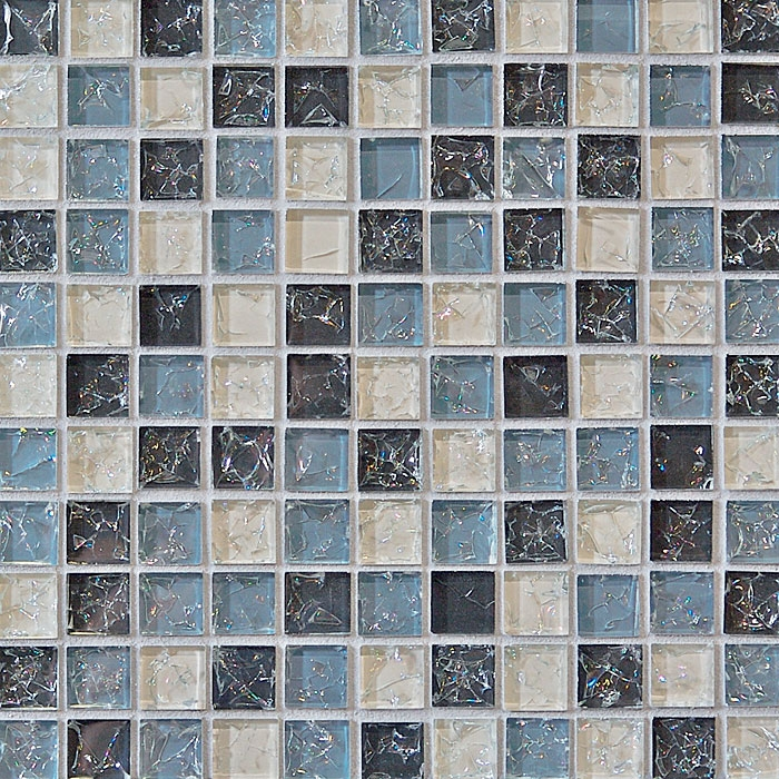 Crackle Glass Tile   1 X 1 Crackled Glossy Glass Tile Mosaic   Gray Blue  Blend