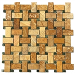 Basketweave Marble Mosaic Tile - Sahara Gold Basket Weave with Green Marble Dot Mosaic - Polished