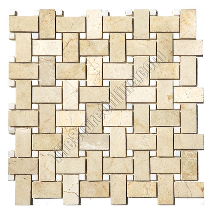 Basketweave Marble Mosaic Tile Crema Marfil Basket Weave With White Dot Polished