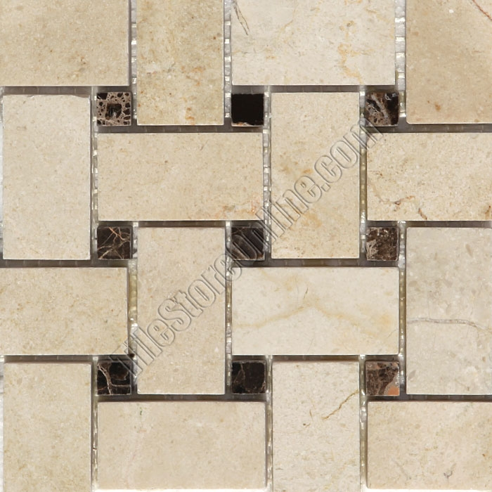Basketweave Marble Mosaic Tile Crema Marfil Basket Weave With Emperador Dark Brown Dot Polished