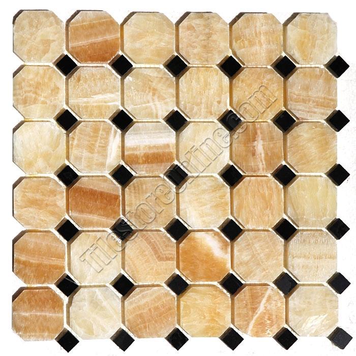 Onyx Mosaic Tile   Honey Onyx Octagon With Black Marble Dot Mosaic    Polished