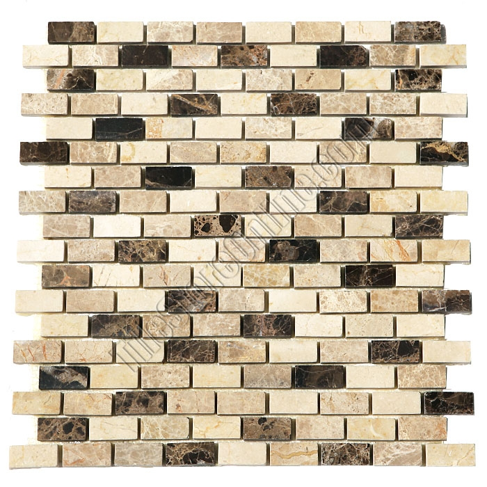 Marble Mosaic Tile 5 8 X 1 4 Crema Marfil Emperador Light Dark Mini