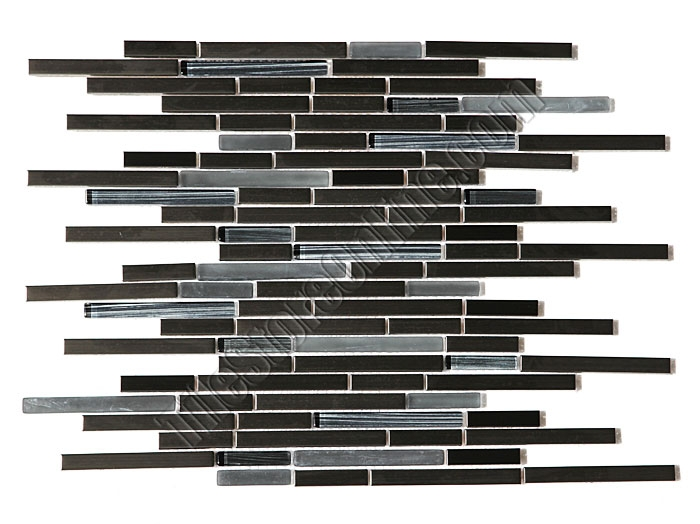 glass and metal tile strip stick mosaic random length glossy and frosted glass sticks with black stainless steel metal strips mosaic hbygg0092
