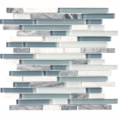 Eclipse Marina Linear Glass And Stone Mosaic Tile Strip Sticks Of White Gray Marble And