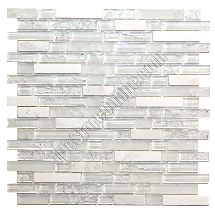 Beau Crackle Glass Tile And Tumbled Marble Linear Mosaic   5/8 X Linear Strips  Sticks Of Crackled ...