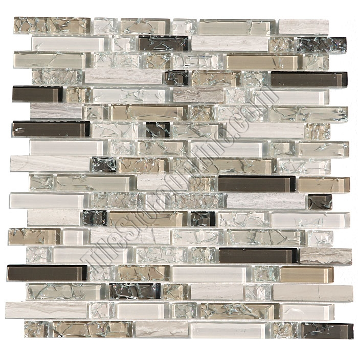 Crackle Glass Tile And Marble Linear Mosaic 5 8 X Linear Strips