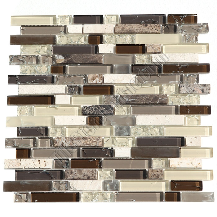 Crackle Glass Tile And Marble Linear Mosaic   5/8 X Linear Strips Sticks Of  Crackled Glossy ...