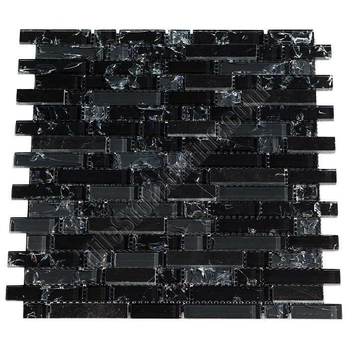 Crackle Glass Tile and Marble Linear Mosaic - 5/8 X Linear Strips Sticks of  Crackled Glossy Glass and Marble