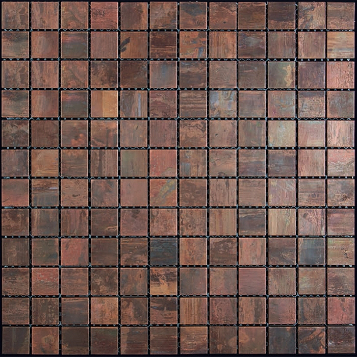 Copper Mosaic Tile Nova Futura 1 X 1 Patina Copper