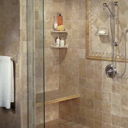 American Olean - BA780 Large Corner Caddy Shampoo Shelf - Resin Faux ...