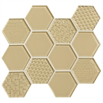 American Olean Color Appeal Entourage Felicity Hexagon Glass - C104 Cloud Cream - Glass Tile Mosaic